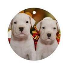 Christmas Dogo Puppies Round Ornament