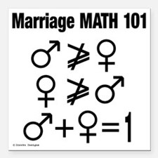 "Marriage Math 101 Square Car Magnet 3"" x 3"""