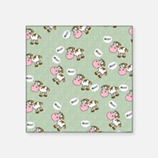 "Cute Cartoon Moo Cows Square Sticker 3"" x 3"""