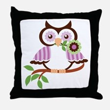 Wise Old Colorful Owl On Branch With  Throw Pillow