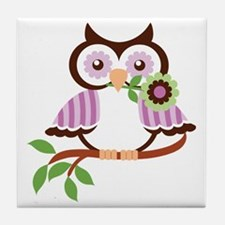 Wise Old Colorful Owl On Branch With  Tile Coaster