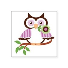 "Wise Old Colorful Owl On Br Square Sticker 3"" x 3"""