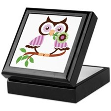 Wise Old Colorful Owl On Branch With  Keepsake Box