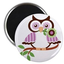 Wise Old Colorful Owl On Branch With Flower Magnet