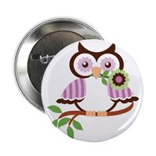 """Wise Old Colorful Owl On Branch With  2.25"""" Button"""