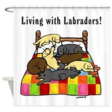 Living with Labradors Shower Curtain