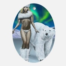 lady and polar bear for journal Oval Ornament