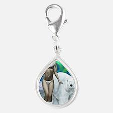 Polar bear lady for cards Silver Teardrop Charm