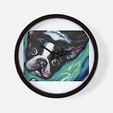 Boston Terrier eyes Wall Clock