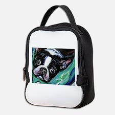 Boston Terrier eyes Neoprene Lunch Bag