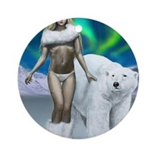 Lady and polar bear for posters Round Ornament