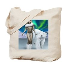 Lady and polar bear for posters Tote Bag