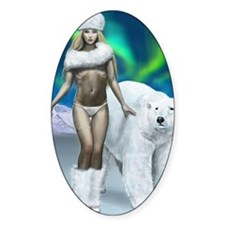 Lady and polar bear for posters Decal