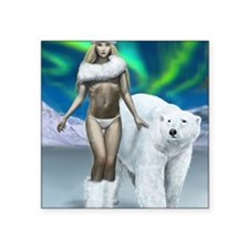 """Lady and polar bear for pos Square Sticker 3"""" x 3"""""""