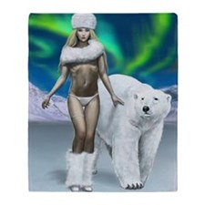 Lady and polar bear for posters Throw Blanket
