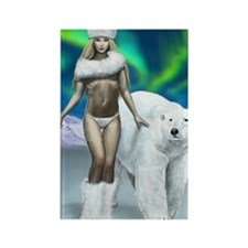 Lady and polar bear for posters Rectangle Magnet