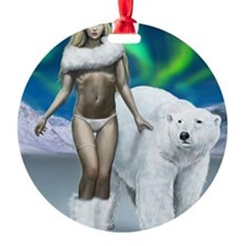Lady and polar bear for posters Ornament