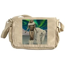 Lady and polar bear for posters Messenger Bag