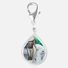 Lady and polar bear for pos Silver Teardrop Charm