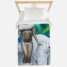 Lady and polar bear for posters Twin Duvet