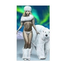 Lady and polar bear for poster Decal