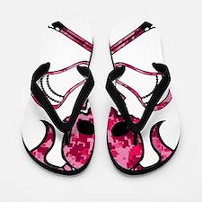 Lacrosse Pink Lady Digital Camo Skull Flip Flops