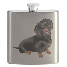 Black-Tan Dachshund  Flask