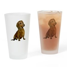 Brown / Red Dachshund Drinking Glass