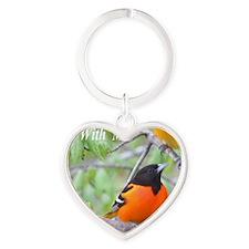 Northern Oriole Heart Keychain