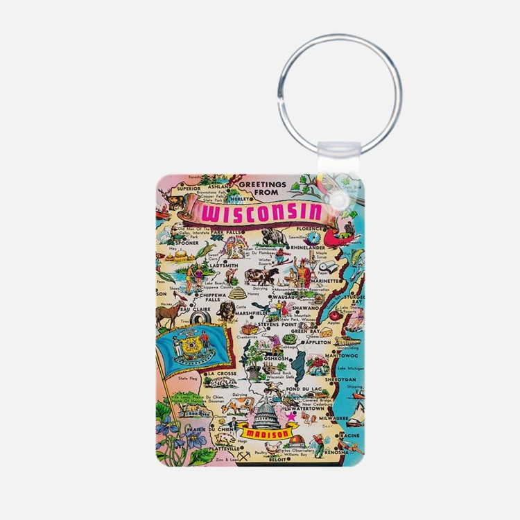 wisconsin map Keychains