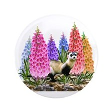 """Black Footed Ferret with Foxglove Flow 3.5"""" Button"""