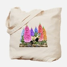 Black Footed Ferret with Foxglove Flowers Tote Bag
