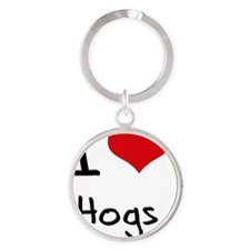 I Love Hogs Round Keychain