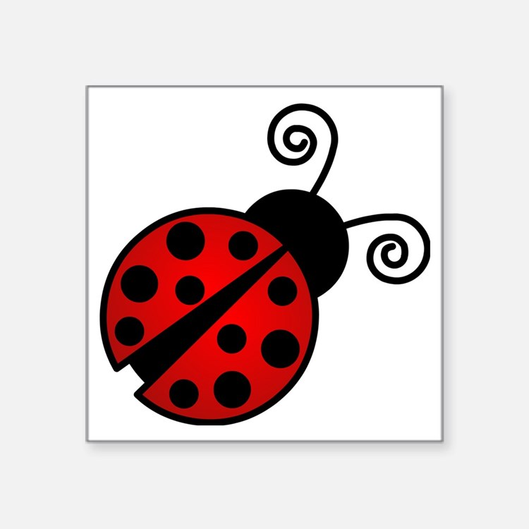 "Red Ladybug 2 Square Sticker 3"" x 3"""