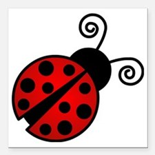 "Red Ladybug 2 Square Car Magnet 3"" x 3"""