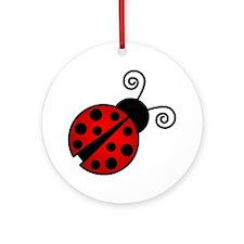 Red Ladybug 2 Round Ornament