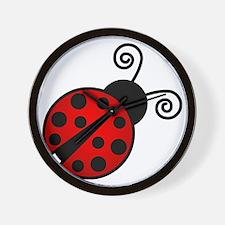 Red Ladybug 2 Wall Clock