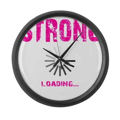 STRONG LOADING - ELECTRIC PINK Large Wall Clock