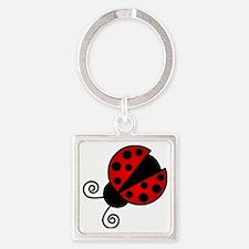 Red Ladybug 1 Square Keychain