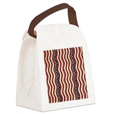 Wavy Patriotic Stripes Pattern Canvas Lunch Bag