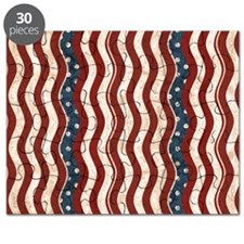 Wavy Patriotic Stripes Pattern Puzzle