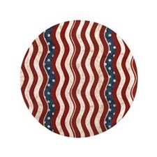 "Wavy Patriotic Stripes Pattern 3.5"" Button"