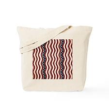 Wavy Patriotic Stripes Pattern Tote Bag
