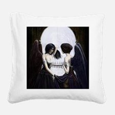 skull illusion coloured gn hi Square Canvas Pillow