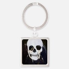 skull illusion coloured gn high re Square Keychain