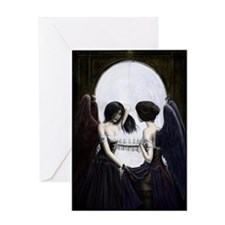 skull illusion coloured gn high res Greeting Card
