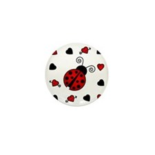Cute Red Ladybug Framed by Hearts Mini Button