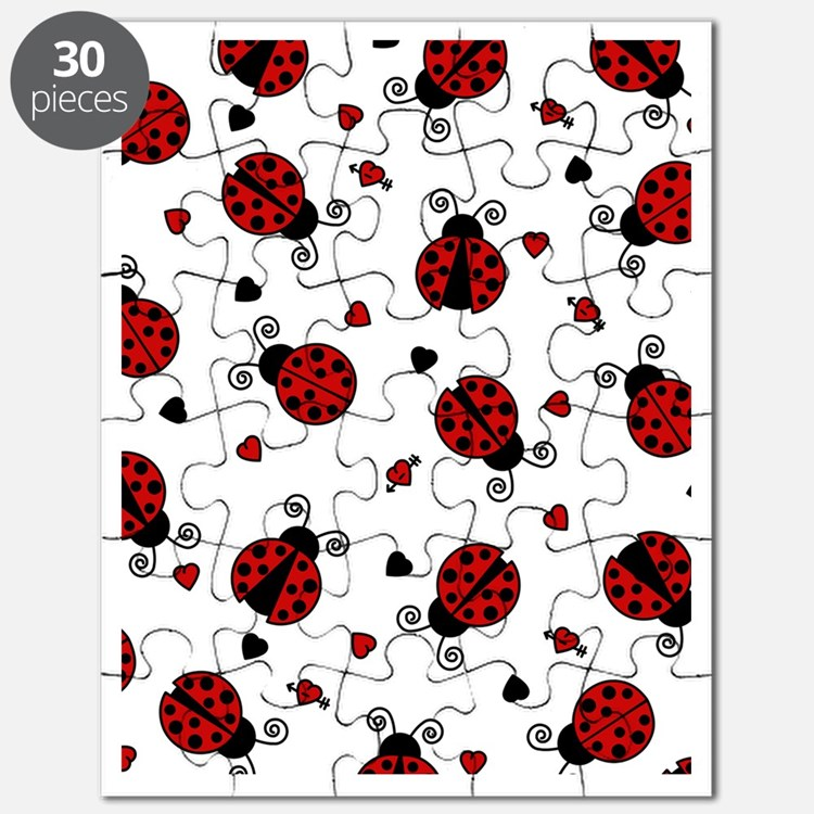 Cute Red Ladybug and Hearts Print Puzzle
