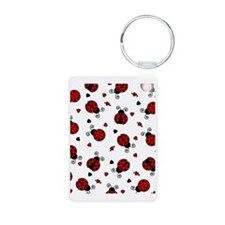Cute Red Ladybug and Heart Keychains