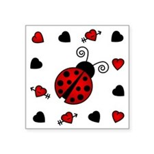"Cute Red Ladybug Framed by  Square Sticker 3"" x 3"""